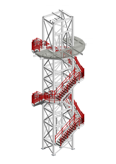 Staircase, Liftshaft, 3D image, Koyda, Design, Engineering
